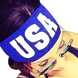 Sports Headband - Start Womens USA Letter Headwrap for Running Crossfit Yoga Pilates Gym Sweatband Stretch Nonslip Hair Accessories