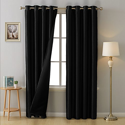 Deconovo Blackout Curtains Faux Dupioni Silk Room Darkening Curtains with Black Lining Grommet Lined Blackout Drapes for Bedroom 52W x 95L Inch Black 2 -
