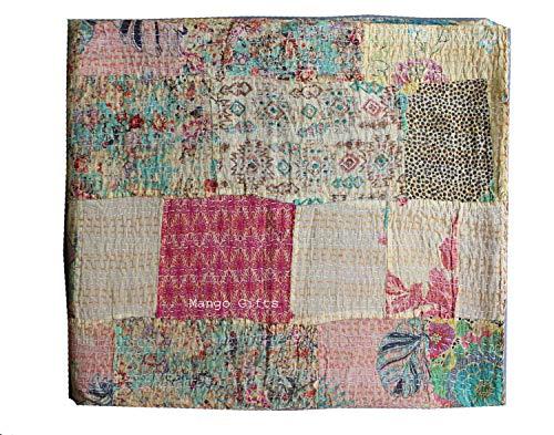Tribal Asian Textiles Banjara Handmade Patchwork Kantha Quilt Handmade Kantha Quilt Throw Queen Size Ajrakh Bedcover Ajrakh Block Print Kantha Bedspread Blanket