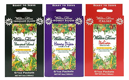 3 Boxes (18 Packets): Walden Farms Salad Dressing 1 Oz Packets (Thousand Island-Honey Dijon-Italian)