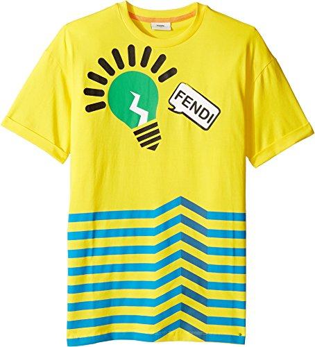 Fendi Kids Boy's Short Sleeve Logo Light Bulb Graphic T-Shirt (Big Kids) Yellow - Fendi Kids Clothes