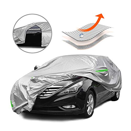 Tecoom Multi-Protection Door Shape Zipper Design Waterproof UV-Proof Windproof Car Cover with Storage and Lock for All Weather Indoor Outdoor Fit 191-200 inches Sedan