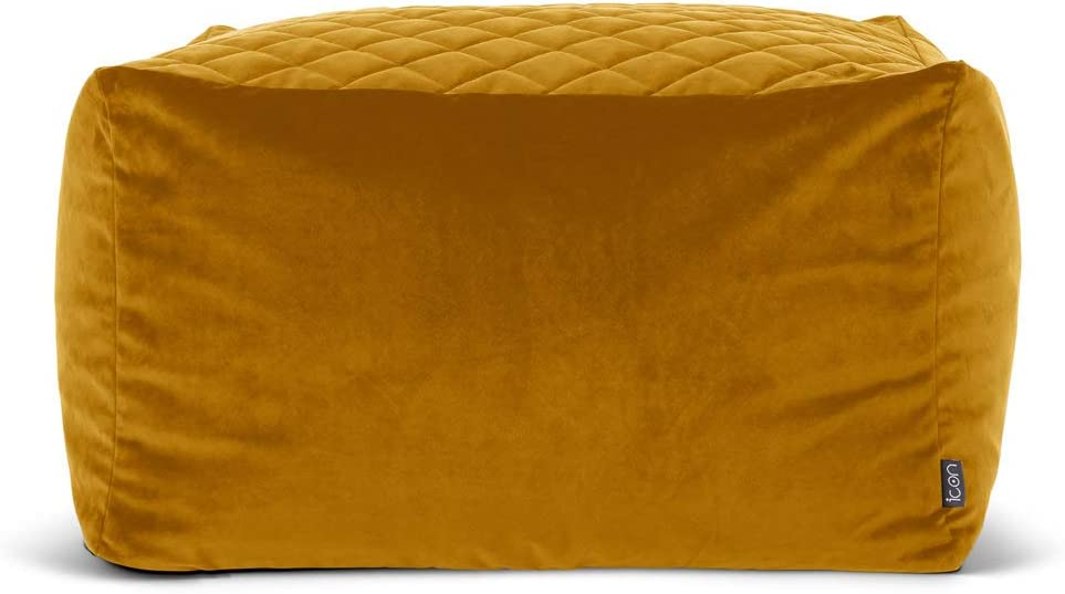 icon Cortado Quilted Velvet Bean Bag Pouffe, Large Velvet Ottoman, Living Room Bedroom Footstool Bean Bags Ochre Yellow