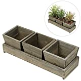 MyGift Set of 3 Rustic Style Wood Succulent Planter Square Pots w/ Tray, Brown