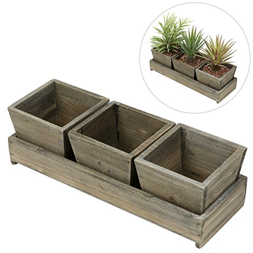 MyGift Set of 3 Rustic Style Wood Succulent Planter Square Pots w/ Tray, (Wooden Herb)