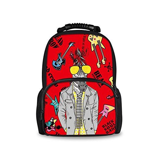 CHAQLIN Punk Music Zebra Chidlren School Backpack for Teen Girls