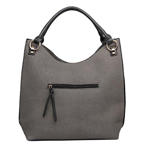 borla de negro piel bolsa Lulu sintética Miss hombro Hobo textura con fqAacT5w