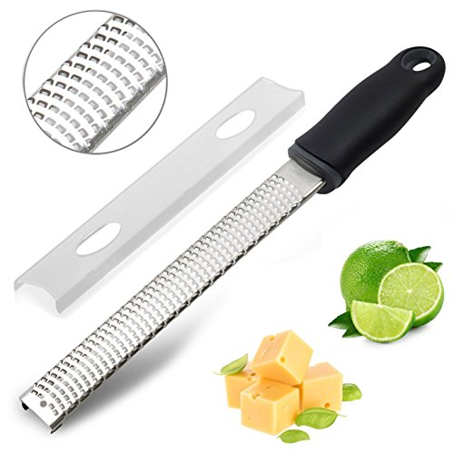 Raniaco Zester Stainless Steel Grater, Cheese, Lemon, Ginger & Potato Zester with Plastic Cover, Long Ergonomic Handle with Rubber Base (Black)