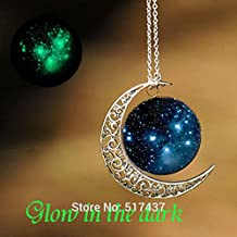 Pretty Lee Round Glass Necklace Glow Necklace Big Dipper Nebula Pendant Glow In The Dark Jewelry Necklace
