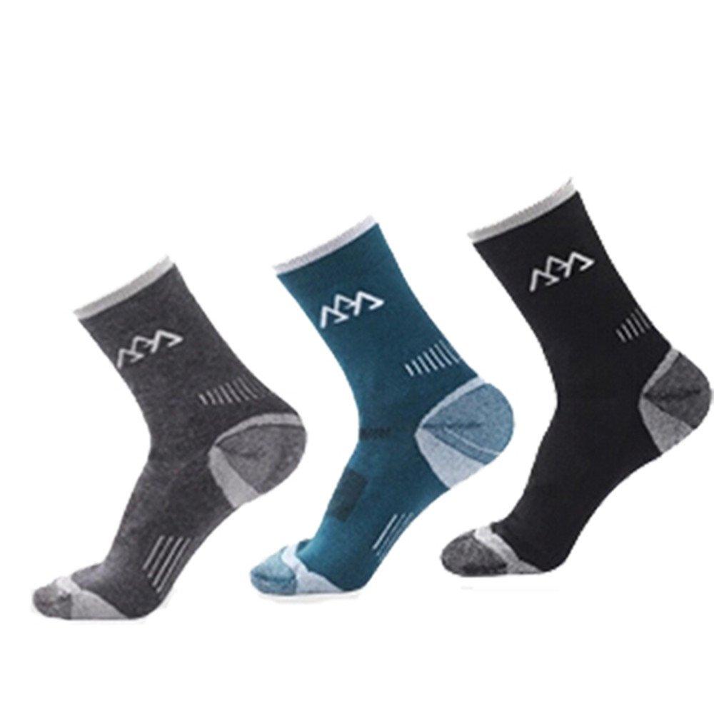 Merino Wool Men 3-pack Outdoor Sports Warm Slightly Thick Socks santo
