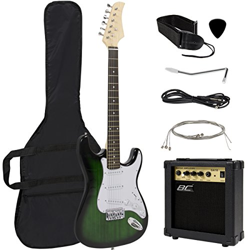 Amp Green (Full Size Green Electric Guitar with Amp, Case and Accessories Pack Beginner Starter Package)