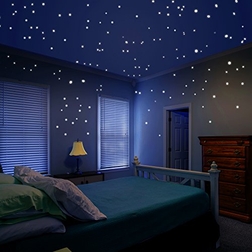 Airbin Glow in The Dark Star Decals Glowing Reusable Ceiling Décor of 1447Pcs Dots Plus Moon and Constellation Guide Perfect for Kids Bedding Room or Media Room, Beautiful Wall Decals