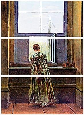 Bilderdepot24 Imagen Lienzo Foto Caspar David Friedrich - Viejos Maestros Mujer en la Ventana 90x150 cm 3tlg. - Totalmente Enmarcado, Directamente del Fabricante: Amazon.es: Hogar