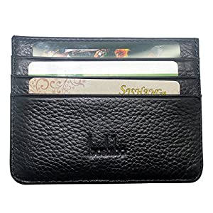 Boshiho Slim Wallet Genuine Leather Minimalist Thin Credit ID Card Holder 4 Card Slots Front Pocket Purse (Black)