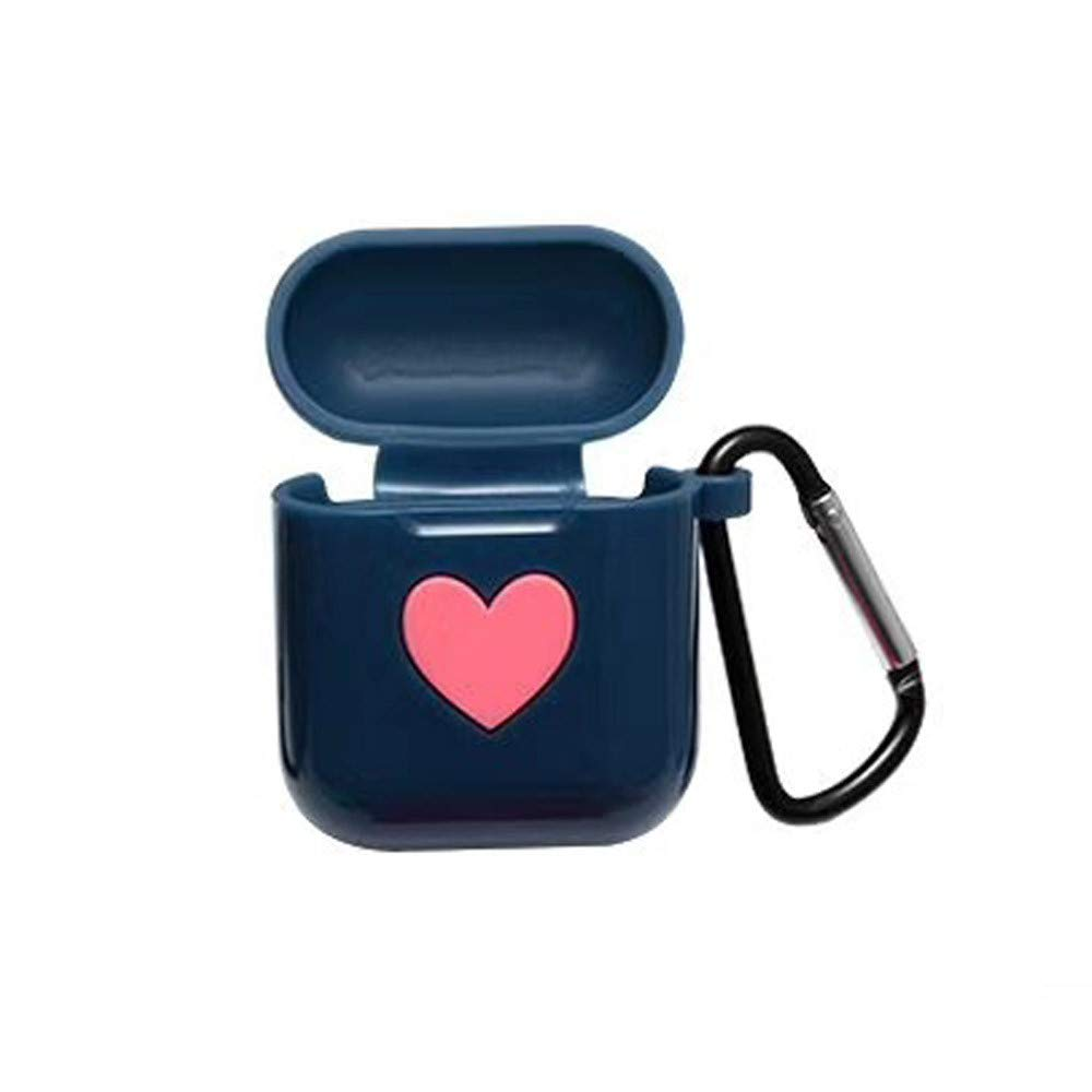 Sikye Premium Silicone Case Full Protective Cover Skin for Airpods Case - Anti-Lost Carabiner, Heart Design,Velantine's Gift for Her (Blue)