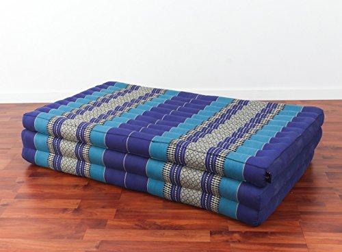 Leewadee Thai Massage Mat XL, 82x46x3 inches, Kapok, Blue
