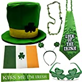ST Patrick's Day Parade Mens and Womens Costume Accessories Set, CoolYeah 7 pcs set for Irish Day Saint Paddy's Day Celebration Outfit Attire March & Party Events