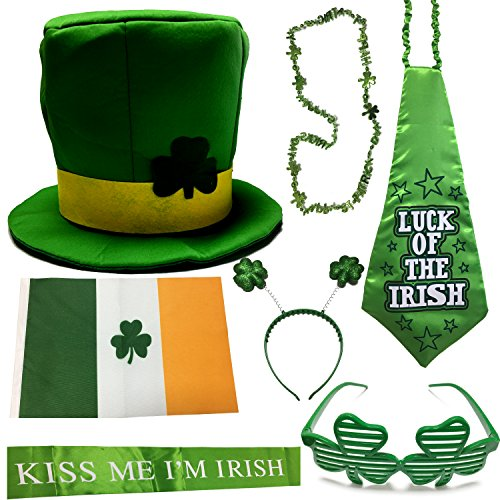 ST Patrick's Day Parade Mens and Womens Costume Accessories Set, CoolYeah 7 pcs Set for Irish Day Saint Paddy's Day Celebration Outfit Attire March & Party Events by CoolYeah