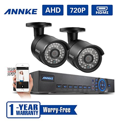 SANNCE 4CH 720P HD Surveillance DVR Recorder and (2) 1280TVL 1.0MP Outdoor Fixed Security Cameras with Super Night Vision IP66 Weatherproof Metal Housing, NO HDD