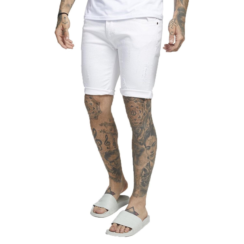 SIK SILK Distressed Skinny Denim Shorts White