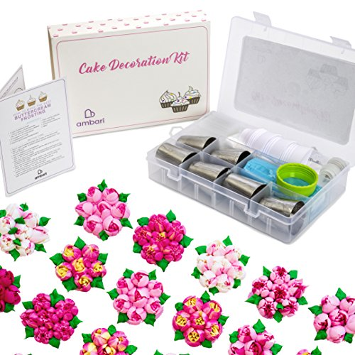 Russian Piping Tips 21pcs Icing Piping Tips - Baking Supplies Set Flower Frosting Tips 7 Icing Nozzles 2 Couplers 11 Pastry Baking Bags Cupcake Decorating Kit by ambari