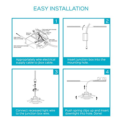 Luxrite 3 Inch Gimbal LED Square Recessed Light with Junction Box, 8W, 5000K Bright White, 600 Lumens, Dimmable Downlight, Energy Star & IC Rated, Damp Location - Adjustable Recessed Lighting by Luxrite (Image #7)