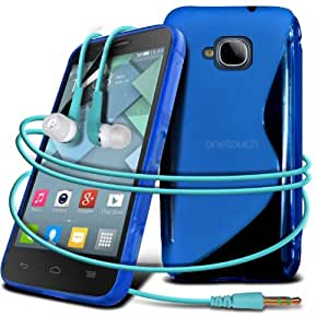 Alcatel One Touch Idol Mini S Line Wave Gel Skin Case Cover + 3.5mm In Ear Bud Earphone + LCD Screen Protector Guard (Blue) By Spyrox