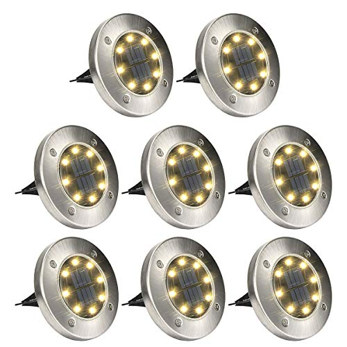 GIGALUMI 8 Pack Solar Ground Lights, 8 LED Solar Powered Disk Lights Outdoor Waterproof Garden Landscape Lighting for Yard Deck Lawn Patio Pathway Walkway (Warm White) (Lighting Ideas Patio Small)
