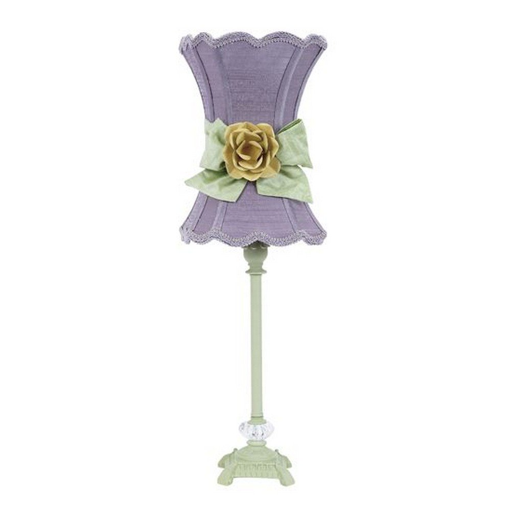 Jubilee Collection 8641-3609-617-MG2003 23.5'' Medium Glass Ball Lamp Base, Pistachio Finish with Scallop Hourglass/Lavender/Modern Green Bow/Yellow Rose Magnet Scroll Ball Glass Shade