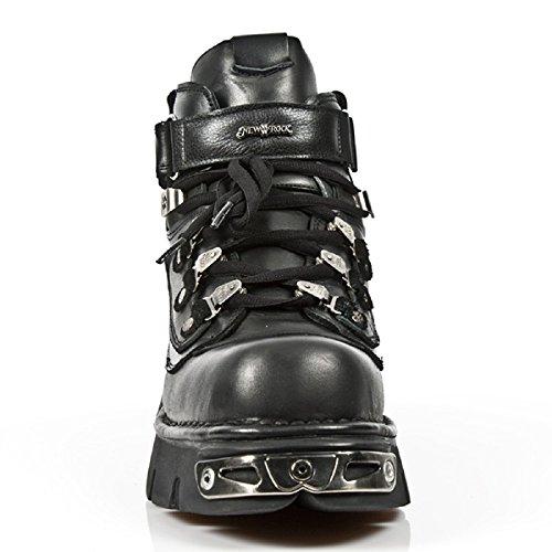 New Rock para hombre Botas de cuero M.654-S1 negro