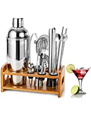 HBlife 15 Piece Cocktail Shaker Set Bartender Kit with Bamboo Stand, Stainless Steel Bar Tool Set with 25oz/750ML Martini Shaker, Cocktail Strainer, Muddler, Double Jigger, Mixing Spoon, Ice Tong, Pour Spout & More, Perfect for Home Bars and Parties, Silver