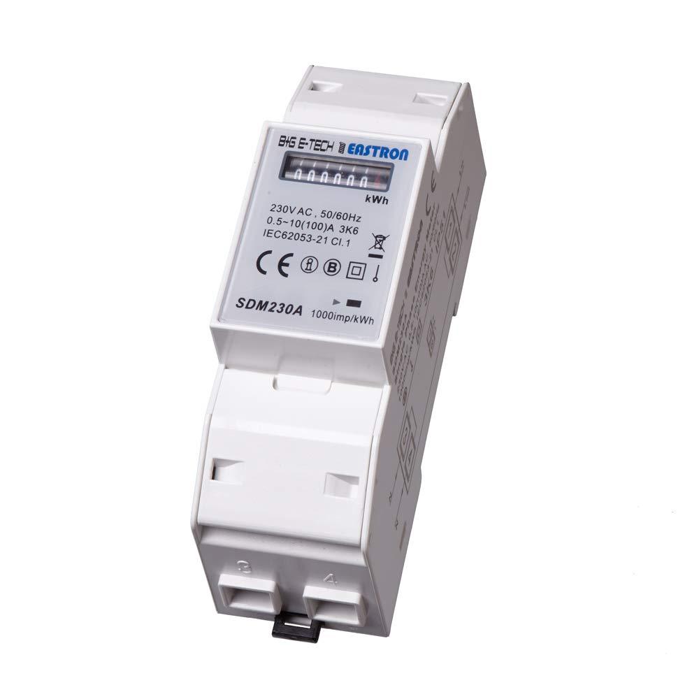B+G E-Tech SDM230A - 1 Phasen Wechselstromzä hler Stromzä hler fü r DIN Hutschiene mit analogem Rollenzä hlwerk