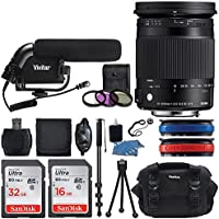 Sigma 18-300mm f/3.5-6.3 DC MACRO OS HSM Contemporary Lens for Canon EF + Shotgun Condenser Microphone + Lens Case + 32GB & 16GB Memory Card + 72 Monopod + Super Deluxe Accessories