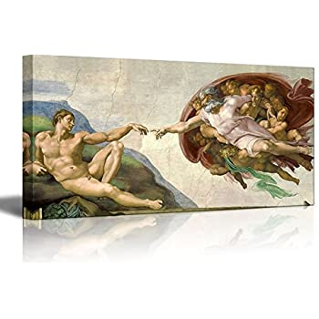 amazon com creation of adam by michelangelo giclee canvas prints