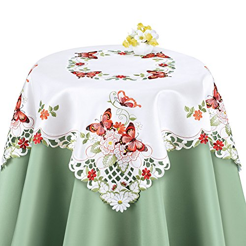 Collections Etc Elegant Butterfly and Greenery Table Linens, Coral, Square ()
