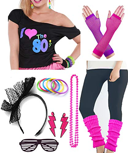 Plus Size Womens 80s Pop Star Party Fancy Costume Outfit T-Shirt Accessory (XXL/XXXL, Black)]()