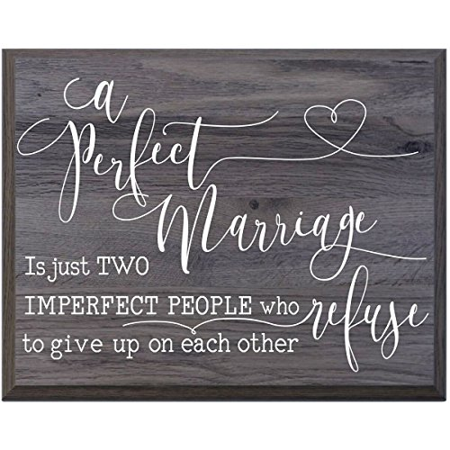 A Perfect Marriage Family wedding anniversary Housewarming Gift for husband wife Parents, New Home Christian gift ideas 12 Inches w X 15 Inches By LifeSong Milestones (Salt Oak) (Plaque Wedding Ideas)