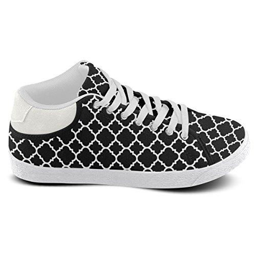 Artsadd Negro Blanco Quatrefoil Patrón Clásico Chukka Zapatos De Lona Para Mujeres (model003)