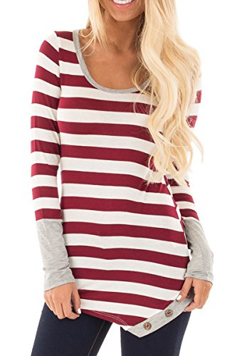 Haloon Plus Size Long Sleeve Button Trim Contrast Color Spliced Shirt for Women XL