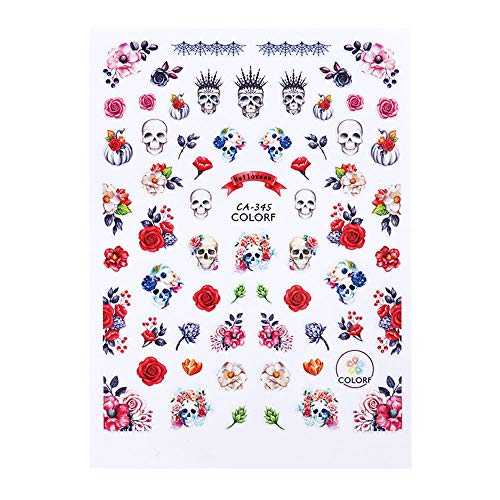 1Pcs Halloween Nail Sticker 3D Skull Ghost Pumpkin Style Nail Art Adhesive Decals DIY Slider Manicure Decoration CA-345]()