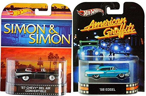 Hot Wheels 50's Cars American Graffiti Simon & Simon Detective TV Series Bel Air Convertible Flashback Ford '58 Edsel Retro Entertainment Set