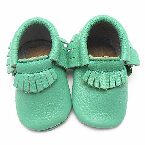 Sayoyo Baby Light Green Tassels Soft Sole Leather Infant Toddler Prewalker Shoes (0-6 months, Light Green)