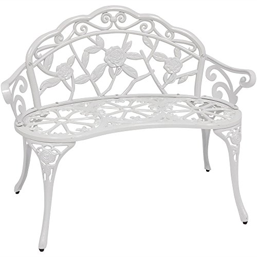Sunnydaze 2-Person Classic Rose Cast Aluminum White Outdoor Garden - Iron Door Furniture Cast