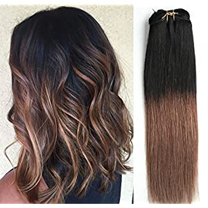 12 Inches Short Straight Full Head 100% Real Clip in Human Hair Extensions, Ombré Hairpieces 80grams ( Black to Brown)