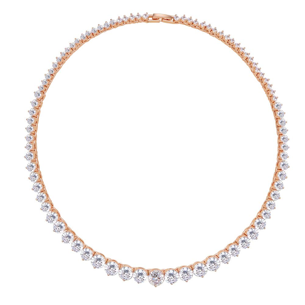 Lavencious Tennis AAA CZ Necklace Bridal Statement Wedding Party Jewelry Woman (Rose Gold)