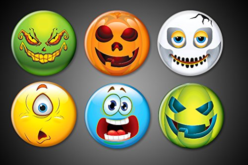 - Halloween Fridge Magnets Emoji Faces Monsters Pumpkins Cyclopse scared faces holiday magnets for boards and festivities set 1