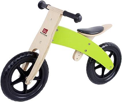 SJZX Bicicleta Sin Pedales Equilibrio Madera para NiñOs Asiento Ajustable Bici Entrenamiento Ligera 2 A 6 AñOs 2265,Green: Amazon.es: Deportes y aire libre