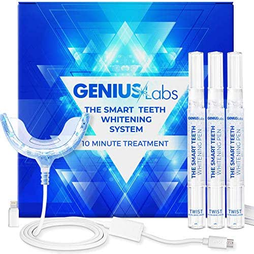 GENIUS Teeth Whitening Kit, 16X LED Professional light for Whiter Teeth, Includes 3 Smart Teeth Whitening Pens, Effectively Whitens in 10 Minutes! The Smart Teeth Whitening System