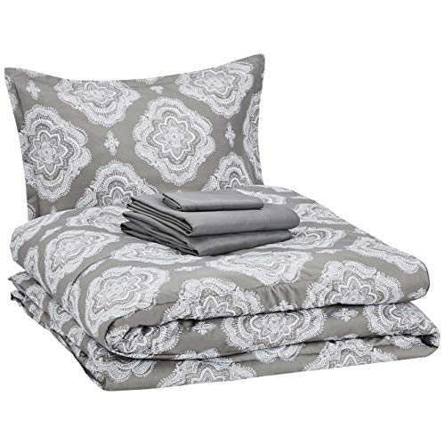 AmazonBasics Bed-in-a-Bag - Soft, Easy-Wash Microfiber - 6-Piece Twin/Twin XL, Grey Medallion
