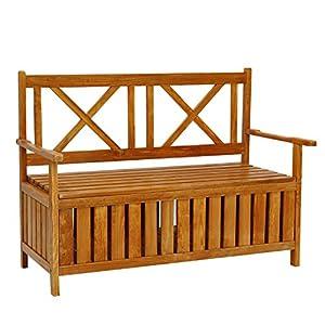 Kinbor All Weather Outdoor Patio Storage Garden Wooden Storage Bench Deck Box